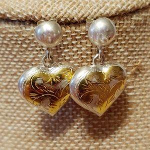 Sterling Silver Puffed Heart Earrings